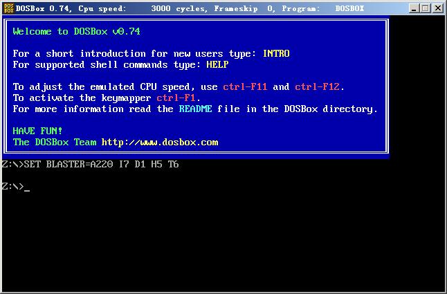 打开DOSbox,看到这个画面。