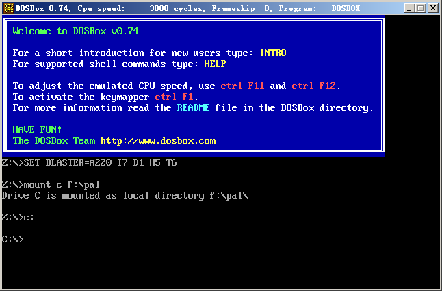将DOSbox的C盘地址映射到游戏文件夹