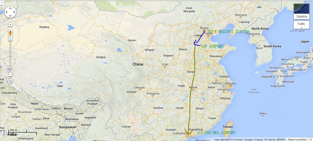 Beijing -> Zhengding Airport -> Shenzhen