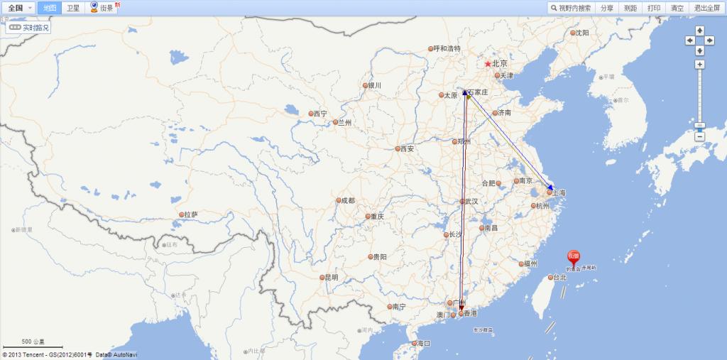 本人猜测其执飞路线: 上海->石家庄->深圳->石家庄->上海