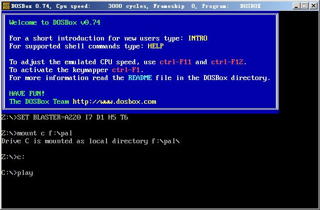 在DOSbox上输入play命令,进入仙剑95游戏