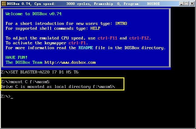将DOSbox的C盘映射到实际的文件夹中