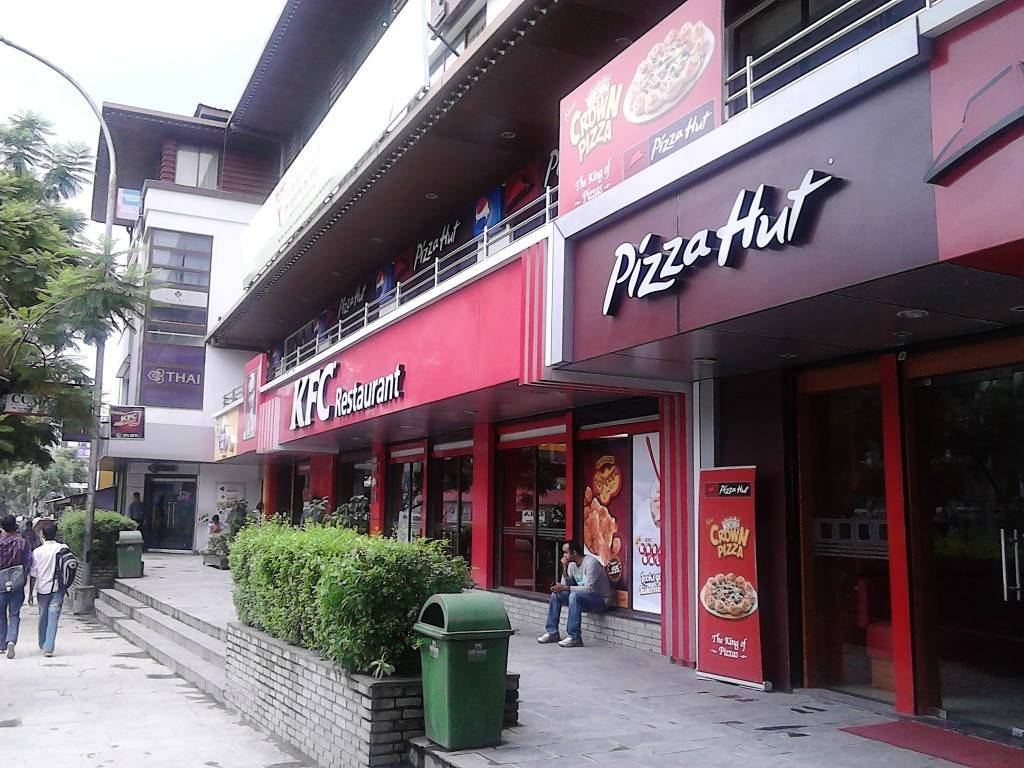 KFC and Pizza-Hut in kathmandu,Nepal.