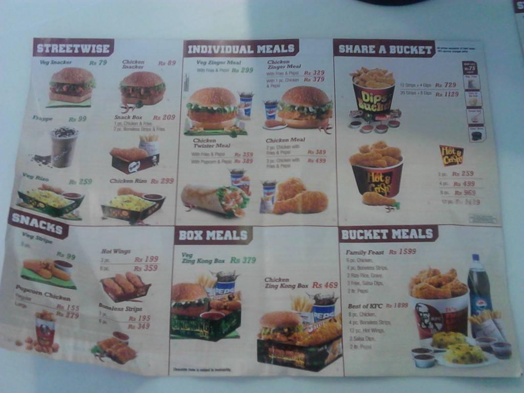 KFC menu. Kathmandu,Nepal